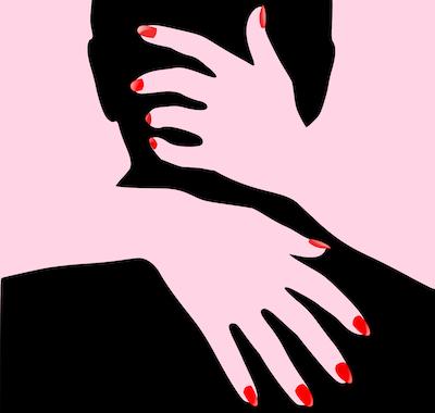 男性の頭に手を回しているセクシーな女性の手
