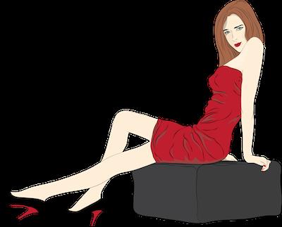 ボディコンを着たハイヒールのセクシーな女性